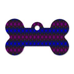 Diamond Alt Blue Purple Woven Fabric Dog Tag Bone (One Side)