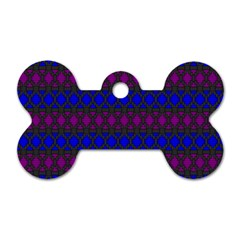Diamond Alt Blue Purple Woven Fabric Dog Tag Bone (Two Sides)
