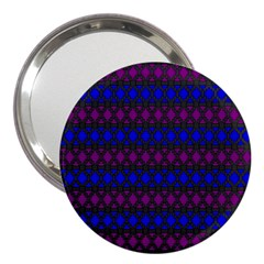 Diamond Alt Blue Purple Woven Fabric 3  Handbag Mirrors