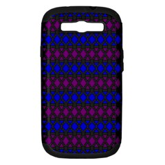 Diamond Alt Blue Purple Woven Fabric Samsung Galaxy S III Hardshell Case (PC+Silicone)