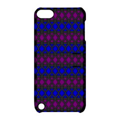 Diamond Alt Blue Purple Woven Fabric Apple iPod Touch 5 Hardshell Case with Stand