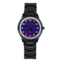 Diamond Alt Blue Purple Woven Fabric Stainless Steel Round Watch