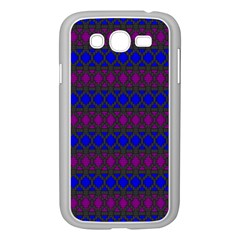 Diamond Alt Blue Purple Woven Fabric Samsung Galaxy Grand DUOS I9082 Case (White)