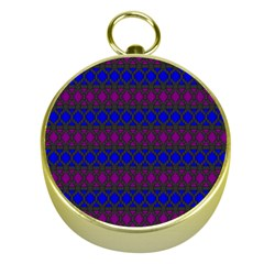 Diamond Alt Blue Purple Woven Fabric Gold Compasses