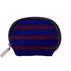 Diamond Alt Blue Purple Woven Fabric Accessory Pouches (Small)