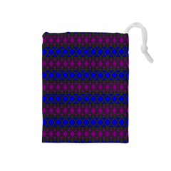 Diamond Alt Blue Purple Woven Fabric Drawstring Pouches (Medium)