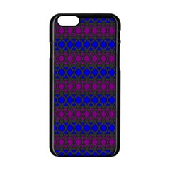Diamond Alt Blue Purple Woven Fabric Apple iPhone 6/6S Black Enamel Case