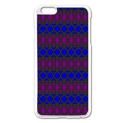 Diamond Alt Blue Purple Woven Fabric Apple iPhone 6 Plus/6S Plus Enamel White Case