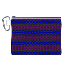 Diamond Alt Blue Purple Woven Fabric Canvas Cosmetic Bag (L)