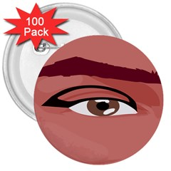 Eye Difficulty Red 3  Buttons (100 pack)
