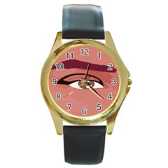 Eye Difficulty Red Round Gold Metal Watch