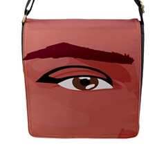 Eye Difficulty Red Flap Messenger Bag (L)