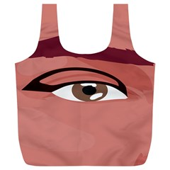 Eye Difficulty Red Full Print Recycle Bags (L)