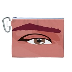 Eye Difficulty Red Canvas Cosmetic Bag (L)