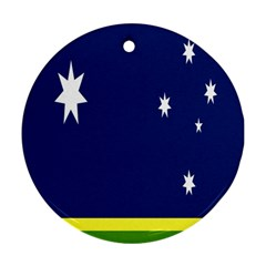 Flag Star Blue Green Yellow Ornament (Round)
