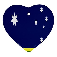 Flag Star Blue Green Yellow Ornament (Heart)