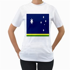 Flag Star Blue Green Yellow Women s T-Shirt (White) (Two Sided)