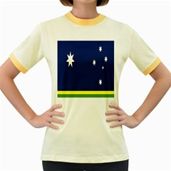 Flag Star Blue Green Yellow Women s Fitted Ringer T-Shirts