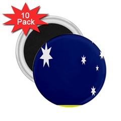 Flag Star Blue Green Yellow 2.25  Magnets (10 pack)
