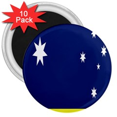 Flag Star Blue Green Yellow 3  Magnets (10 pack)