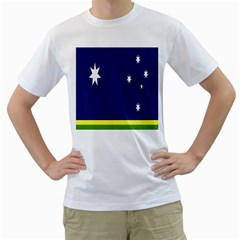 Flag Star Blue Green Yellow Men s T-Shirt (White) (Two Sided)