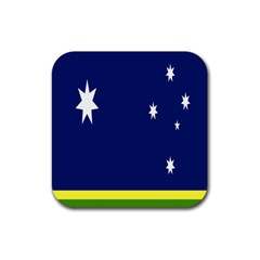 Flag Star Blue Green Yellow Rubber Square Coaster (4 pack)