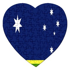 Flag Star Blue Green Yellow Jigsaw Puzzle (Heart)