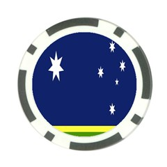 Flag Star Blue Green Yellow Poker Chip Card Guard