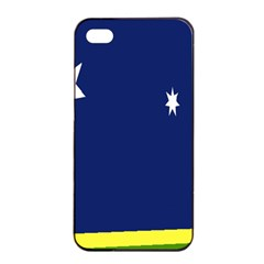Flag Star Blue Green Yellow Apple iPhone 4/4s Seamless Case (Black)