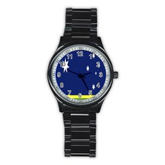 Flag Star Blue Green Yellow Stainless Steel Round Watch