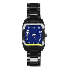 Flag Star Blue Green Yellow Stainless Steel Barrel Watch