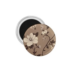 Floral Flower Rose Leaf Grey 1.75  Magnets