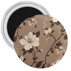 Floral Flower Rose Leaf Grey 3  Magnets