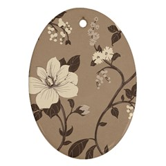 Floral Flower Rose Leaf Grey Ornament (Oval)