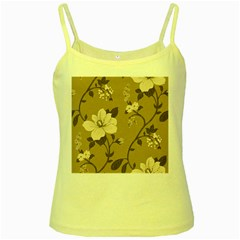 Floral Flower Rose Leaf Grey Yellow Spaghetti Tank