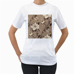Floral Flower Rose Leaf Grey Women s T-Shirt (White) (Two Sided)
