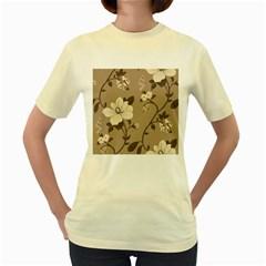 Floral Flower Rose Leaf Grey Women s Yellow T-Shirt