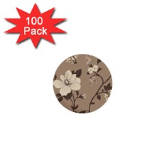 Floral Flower Rose Leaf Grey 1  Mini Buttons (100 pack)