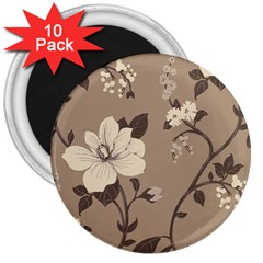 Floral Flower Rose Leaf Grey 3  Magnets (10 pack)