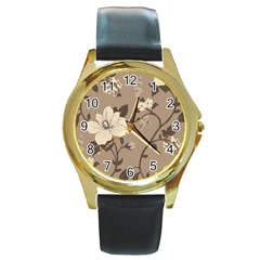 Floral Flower Rose Leaf Grey Round Gold Metal Watch