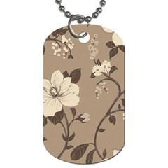 Floral Flower Rose Leaf Grey Dog Tag (One Side)