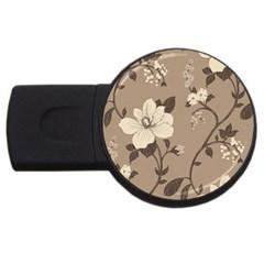 Floral Flower Rose Leaf Grey USB Flash Drive Round (2 GB)