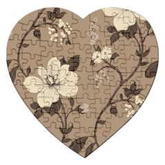 Floral Flower Rose Leaf Grey Jigsaw Puzzle (Heart)