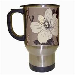 Floral Flower Rose Leaf Grey Travel Mugs (White)