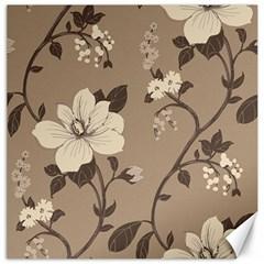 Floral Flower Rose Leaf Grey Canvas 12  x 12