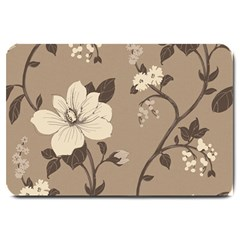 Floral Flower Rose Leaf Grey Large Doormat