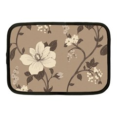 Floral Flower Rose Leaf Grey Netbook Case (Medium)
