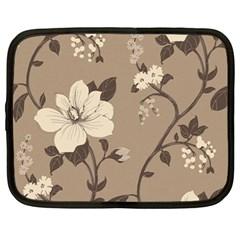 Floral Flower Rose Leaf Grey Netbook Case (Large)