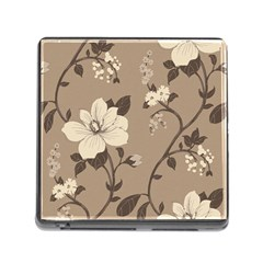 Floral Flower Rose Leaf Grey Memory Card Reader (Square)