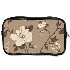 Floral Flower Rose Leaf Grey Toiletries Bags